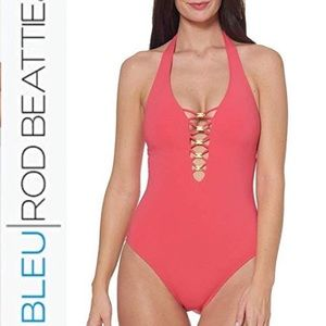 Bleu Rod Beattie Knotty Halter One Piece Swimsuit